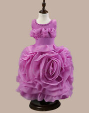Girls Kids Tutu Flower Sash Formal Party Prom Wedding Bridesmaid Princess Dress
