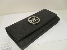 NWT Michael Kors Black PVC MK Signature Fulton Flap Continental Wallet Purse