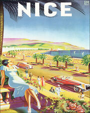 NICE FRENCH RIVIERA SUMMER TRAVEL 8 X 10 VINTAGE POSTER REPRO FREE SHIPPING