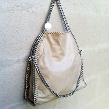 BORSA GRANDE 3 CATENE SILVER BEIGE SABBIA TAN BAG THREE CHAIN Stella McCartney
