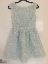 Topshop Light Blue White Floral Lace Open Back Dress Small