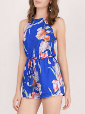 Minkpink By The River Blue Flower Halter Playsuit Romper NEW XS S M L