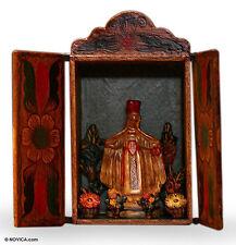 Handmade Wood Retablo Andes Folk Art 'Our Lady of Mount Carmel' NOVICA Peru