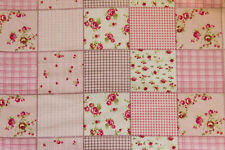 "90"" EXTRA WIDE Pink Patchwork Floral PERCALE Sheeting Fabric by the yard"