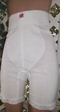 "WHITE QUEEN BONED WAIST  OPEN-CROTCH 20"" LONG PANTY GIRDLE 48"