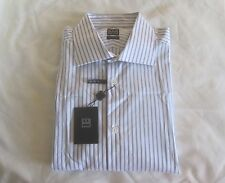 Ike Behar Regular Fit Stripe Men's Dress Shirt Winter White 16|34-35 MSRP $145