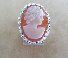 Estate Handcrafted Genuine Italian Cameo 20x16mm Silver 925 Ring skaisJL14