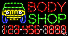 """NEW """"BODY SHOP"""" 32x17 w/YOUR PHONE NUMBER SOLID/ANIMATED LED SIGN 25051"""