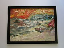 MYSTERY ARTIST SIGNED ABSTRACT EXPRESSIONIST PAINTING MODERNISM VAN GOGH ESQUE