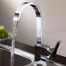 360° Swivel Spout Square Chrome Brass Kitchen Water Switch Basin Sink Mixer Tap