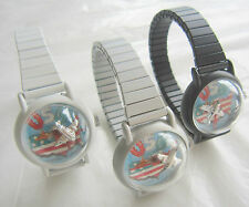Rare Vintage Set of 3 Men Winding Watch for Collection, Bubble Top, Flying Plane