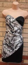H&M ABSTRACT BEADED SATIN WHITE BLACK CORSET TUBE BODYCON PARTY DRESS 12 M