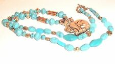 Long boho blue and gold tone cat necklace cat lady jewelry bohemian statement