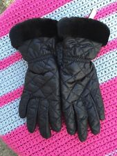UGG Size S/M Black Quilted Tech Gloves W/ Shearling Cuffs and Faux Fur Lining