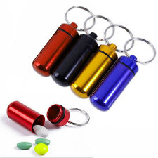 2pcs Waterproof Mini Aluminum Pill Box Case Bottle Container Keychain Keyring BO
