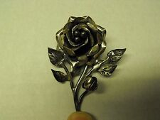 TAXCO 925 MEXICO STERLING SILVER LARGE 3D ROSE BROOCH, PIN. A REAL PIECE OF ART!