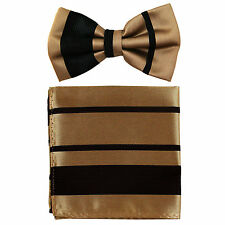New formal men's pre tied Bowtie & Pocket Square Hankie stripes mocca brown