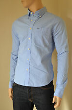 NEW Abercrombie & Fitch Kilburn Mountain Blue Microstripe Stripe Shirt S RRP £82