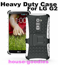 White Heavy Duty Strong Durable Handyman Hard TPU Case Cover Stand for LG G2