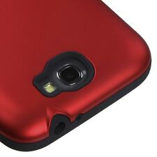 For Samsung Galaxy Note 2 - HARD & SOFT RUBBER HYBRID ARMOR SKIN CASE RED BLACK