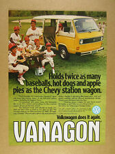 1980 VW Volkswagen Vanagon yellow & white van bus photo vintage print Ad