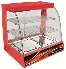 New Counter Top Heated Red Display Curved Glass Hot Food Cabinet Warmer