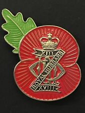 13th 18th Royal Hussars Remembrance Poppy Pin