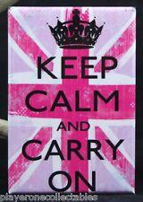 """Keep Calm and Carry On 2"""" x 3"""" Fridge Magnet. Union Jack UK"""