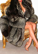 BEAUTIFUL SILVER SAGA FOX REAL FUR COAT JACKET XL HUGE SWEEP LOVELY!