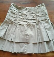 Anthropologie Odille TAN Ruched Pleated TIERED MINI Skirt Size 2