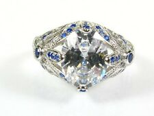 Art Deco 3ctw White Topaz & Lab Bl Sapphire Coated Platinum 925 Floral Ring 126a