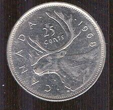 1968 Silver Version Canadian Quarter 25 CENT 25c - Mostly AU!