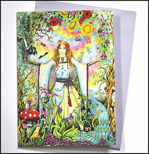 Goddess card, drawn and printed in the UK, birthday, blank greetings belly