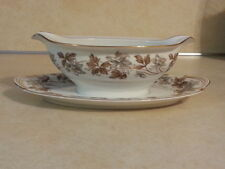 NORITAKE ALLISON 5313 GRAVY BOAT WITH ATTACHED UNDERPLATE GRAY BROWN FLOWERS