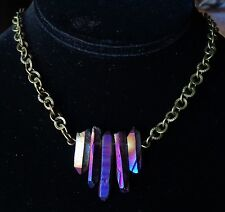 Artisan Necklace Titanium Quartz Points Bar Pendant W/ Brass Ring Chain