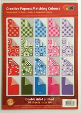 A4 DOUBLE SIDED PATTERNED PAPER PACK - 20 SHEETS - ASSORTED COLOURS