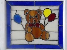 Vintage ~ Stain Glass Teddy Bear with Balloons Framed Panel with Circle Hooks