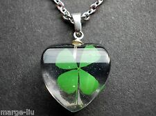 FOUR REAL LEAF LUCKY CLOVER HEART PENDANT NECKLACE WITH STAINLESS STEEL CHAIN