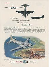 1953 Douglas R4D-8 Airplane Ad US Navy Transport Diamond Head Oahu Hawaii USN