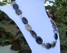 """19"""" Handmade Black Brown White Geode Agate Necklace"""