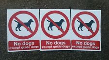 """No Pets Dogs Allowed  Warning Sign Sticker Decal 4.25"""" x 5.75"""" . Set of 3."""