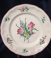 """LUNEVILLE FRANCE K & G OLD STRASBOURG DINNER PLATE 10"""" TULIP FLOWERS PINK TRIM"""