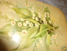 ANTIQUE VICTORIAN CELLULOID  LILY OF THE VALLEY FLORAL DRESSER MANICURE BOX