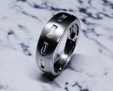 0.30 Ct. Baguette Stones on Hand Crafted 14k White Gold Men's Wedding Band