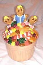 RARE Vintage GINGERBREAD MAN COOKIE JAR House 1986 Three Men Kids Candy Basket