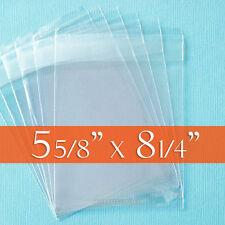 "100 Clear Cello Bags, 5 5/8"" x 8 1/4"" inch, for A8 Card + Envelope. (Cellophane)"