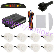 White Car 8 Parking Backup Sensors Kit LED Display Reverse Radar Sound System