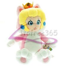"9"" Super Mario Bros New Cat PEACH PRINCESS 3D Work Neko Plush Doll Toy MX2872"