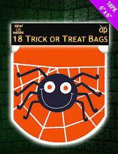 18 x HALLOWEEN Orange Trick or Treat Spider Loot Bags Drawstring bags FREE P&P