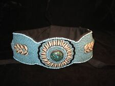 Turquoise and cowrie shell beaded belt
